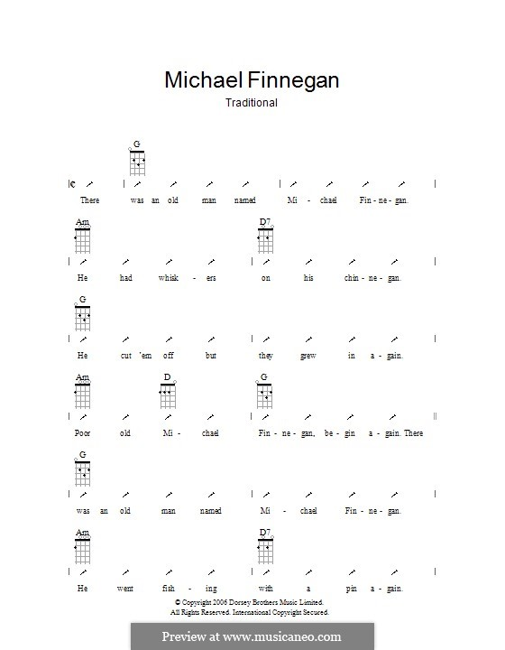 Michael Finnegan: Ukulele with strumming patterns by folklore
