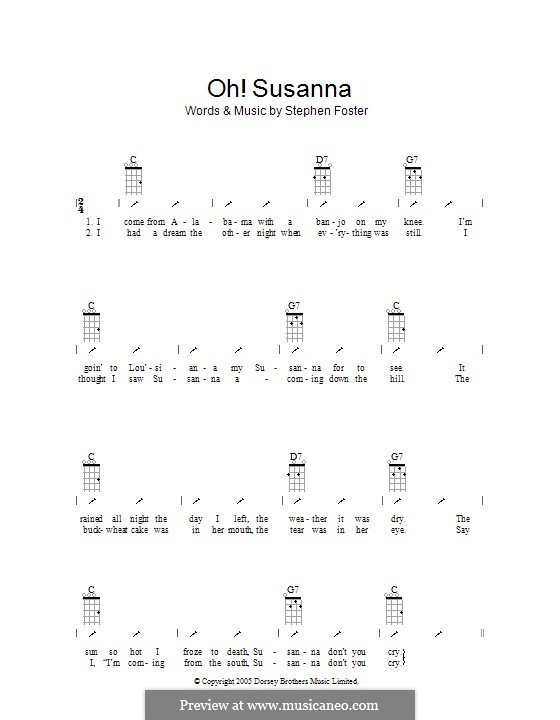 Oh! Susanna: Ukulele with strumming patterns by Stephen Collins Foster
