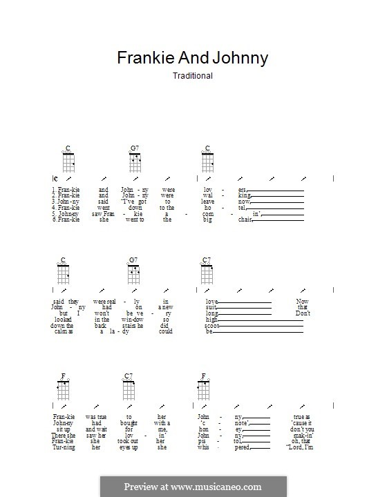 Frankie and Johnny: Ukulele with strumming patterns by folklore