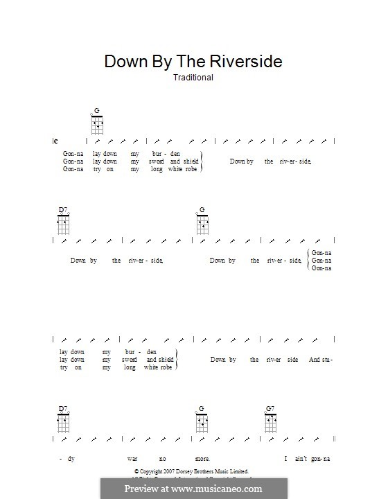 Down By the Riverside: Ukulele with strumming patterns by folklore