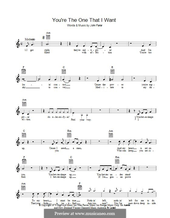 You're the One That I Want (from Grease): Melody line, lyrics and chords by John Farrar