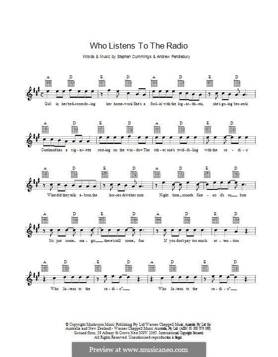 Who Listens to the Radio (The Sports): Melody line, lyrics and chords by Andrew Pendlebury, Stephen Cummings