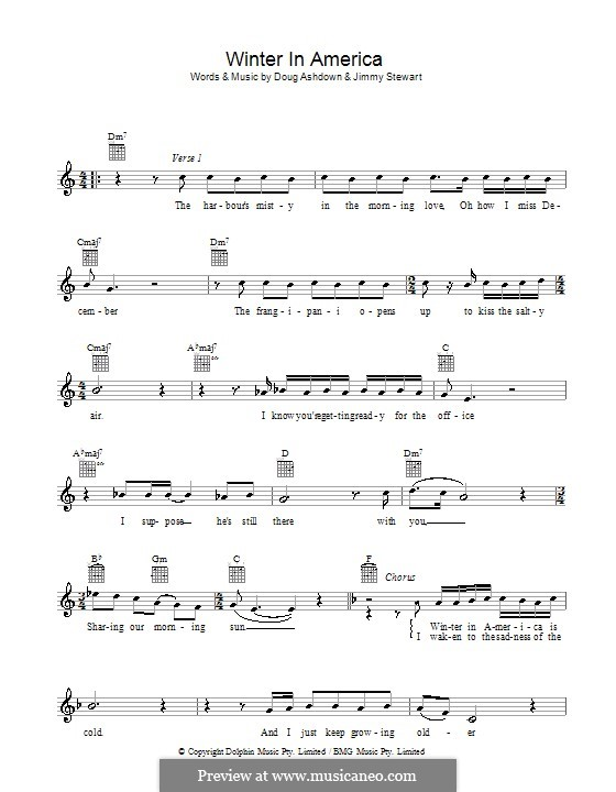 Winter in America: Melody line, lyrics and chords by Jimmy Alan Stewart