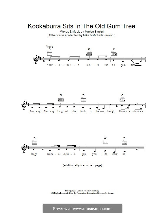 Kookaburra Sits in the Old Gum Tree: Melody line, lyrics and chords by Marion Sinclair
