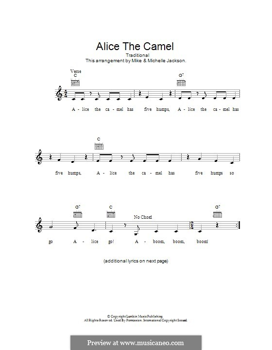 Alice the Camel: Melody line, lyrics and chords by folklore