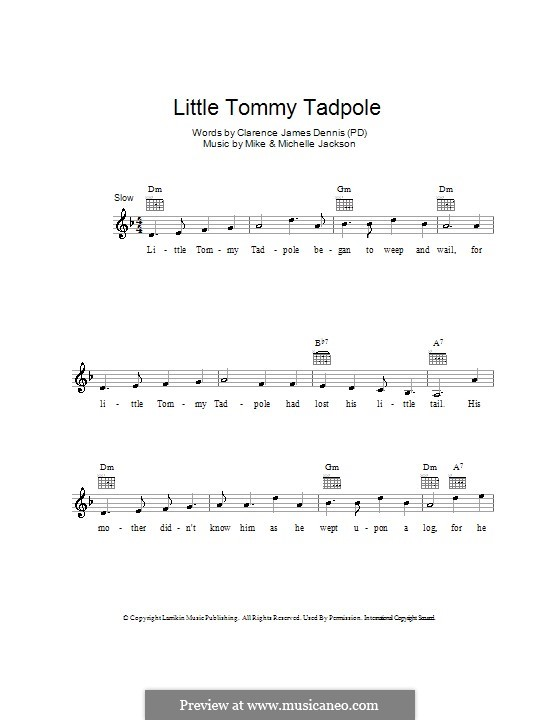 Little Tommy Tadpole: Melody line, lyrics and chords by Michael Jackson