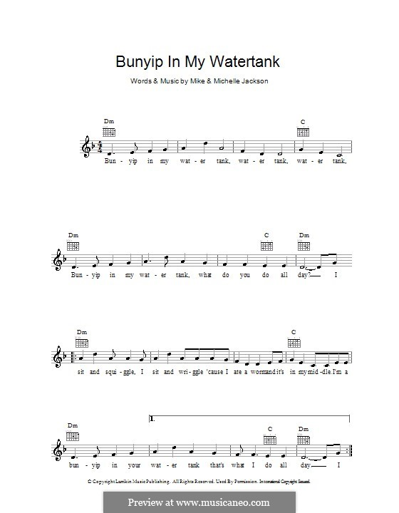 Bunyip in My Water Tank: Melody line, lyrics and chords by Michael Jackson
