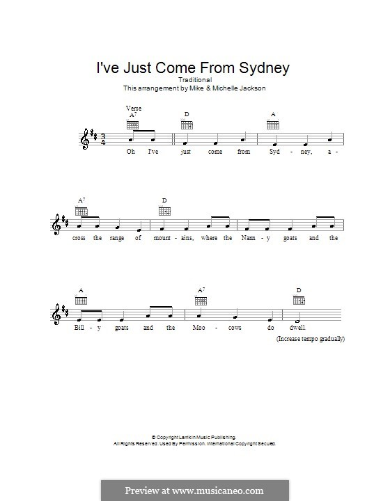 I've Just Come from Sydney: Melody line, lyrics and chords by folklore