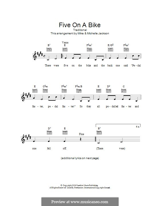 Five on a Bike: Melody line, lyrics and chords by folklore