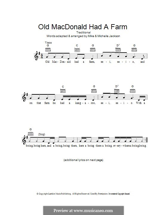 Old MacDonald Had a Farm: Melody line, lyrics and chords by folklore