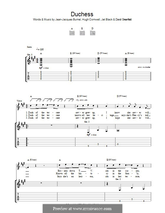 Duchess (The Stranglers): For guitar with tab by David Greenfield, Hugh Cornwell, Jean-Jacques Burnel, Jet Black