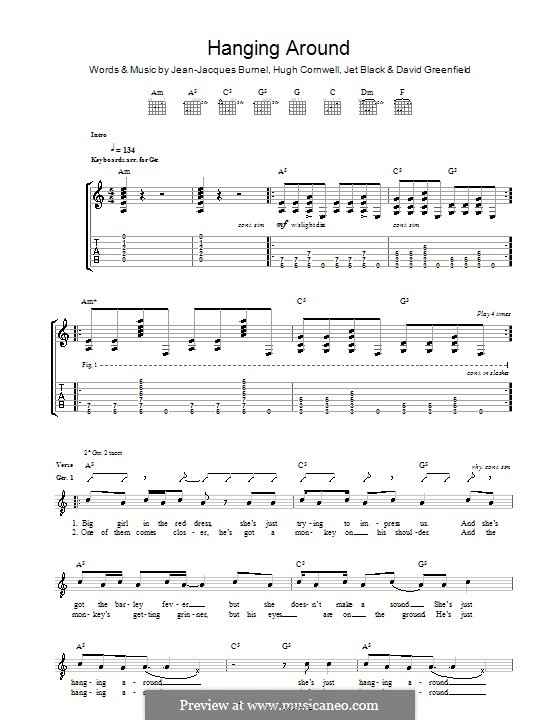 Hanging Around (The Stranglers): For guitar with tab by David Greenfield, Hugh Cornwell, Jean-Jacques Burnel, Jet Black
