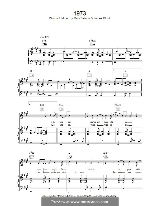 1973: For voice and piano (or guitar) by James Blunt, Mark Batson