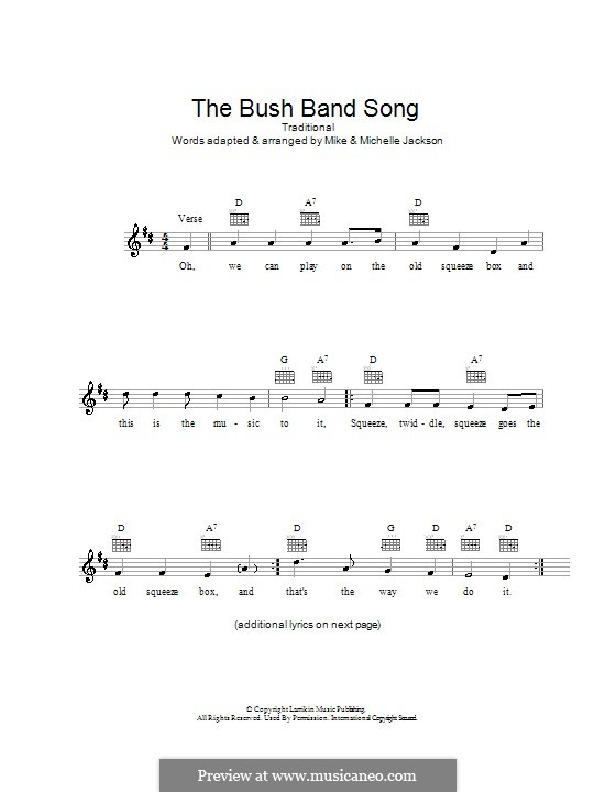 The Bush Band Song: Melody line, lyrics and chords by folklore