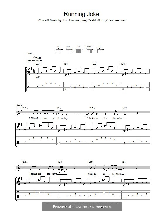 Running Joke (Queens of the Stone Age): For guitar with tab by Joey Castillo, Joshua Homme, Troy Van Leeuwen