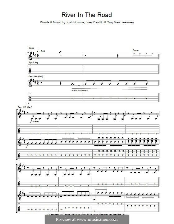 River in the Road (Queens of the Stone Age): For guitar with tab by Joey Castillo, Joshua Homme, Troy Van Leeuwen