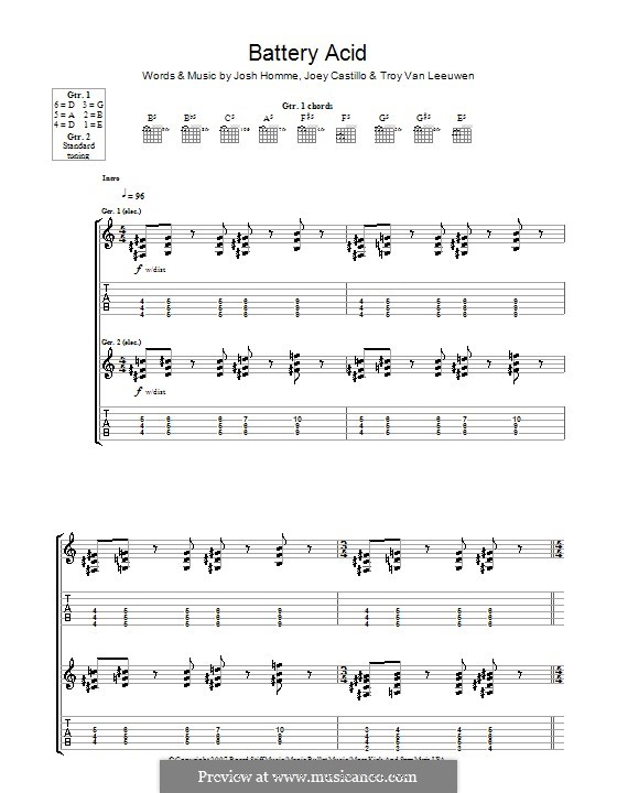 Battery Acid (Queens of the Stone Age): For guitar with tab by Joey Castillo, Joshua Homme, Troy Van Leeuwen