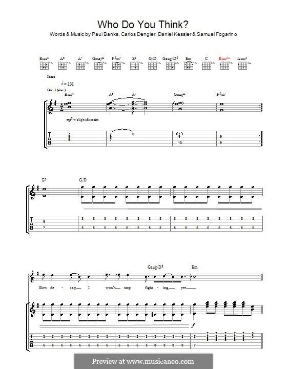 Who Do You Think (Interpol): For guitar with tab by Carlos Dengler, Daniel Kessler, Paul Banks, Samuel Fogarino