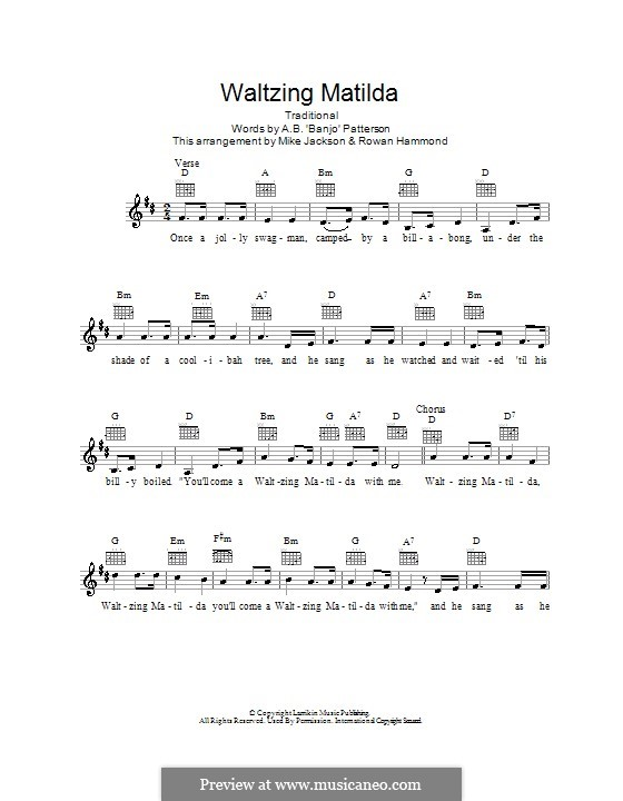 Waltzing Matilda: Melody line, lyrics and chords by folklore