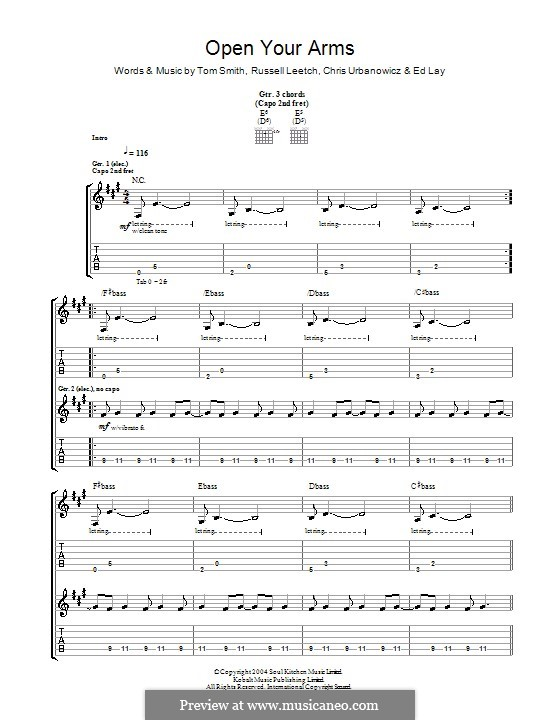 Open Your Arms (Editors): For guitar with tab by Christopher Urbanowicz, Edward Lay, Russell Leetch, Thomas Henry Smith