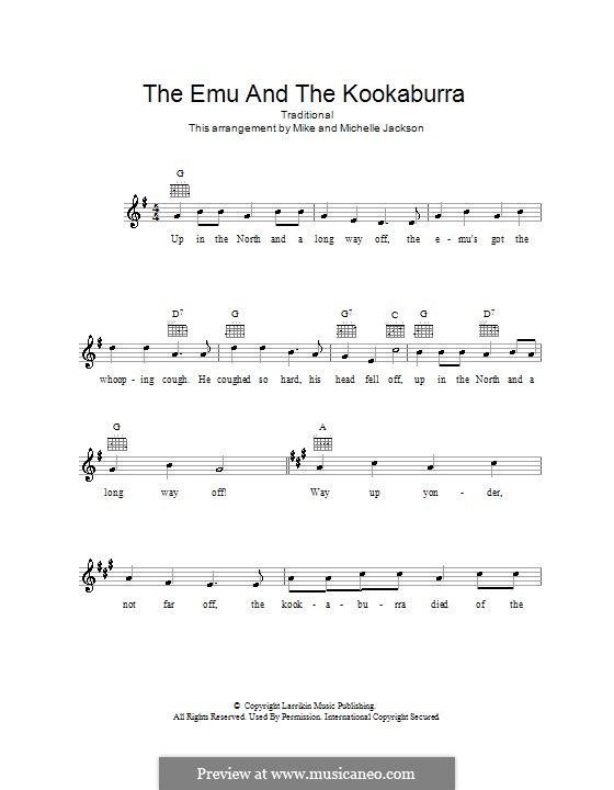 The Emu and The Kookaburra: Melody line, lyrics and chords by folklore