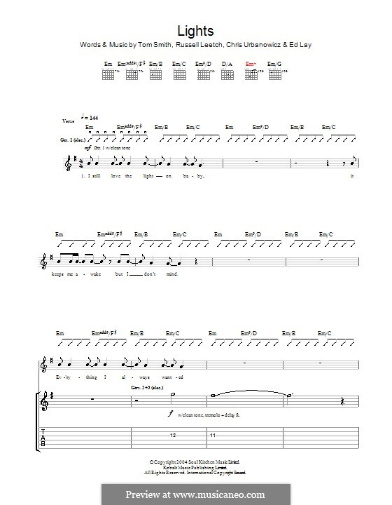 Lights (Editors): For guitar with tab by Christopher Urbanowicz, Edward Lay, Russell Leetch, Thomas Henry Smith