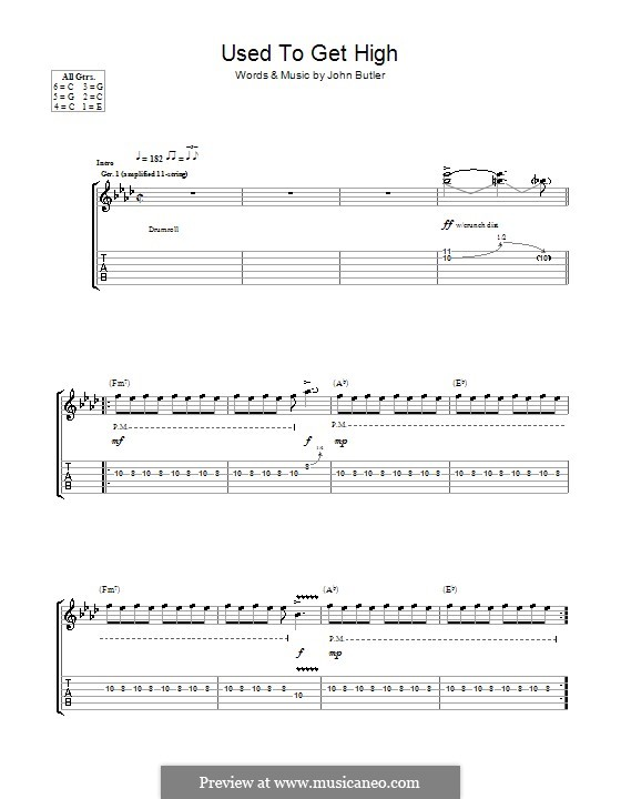 Used To Get High: For guitar with tab by John Butler