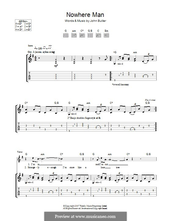 Nowhere Man: For guitar with tab by John Butler