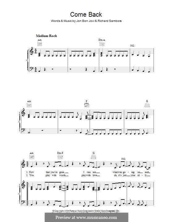 Come Back (Bon Jovi): For voice and piano (or guitar) by Jon Bon Jovi, Richie Sambora