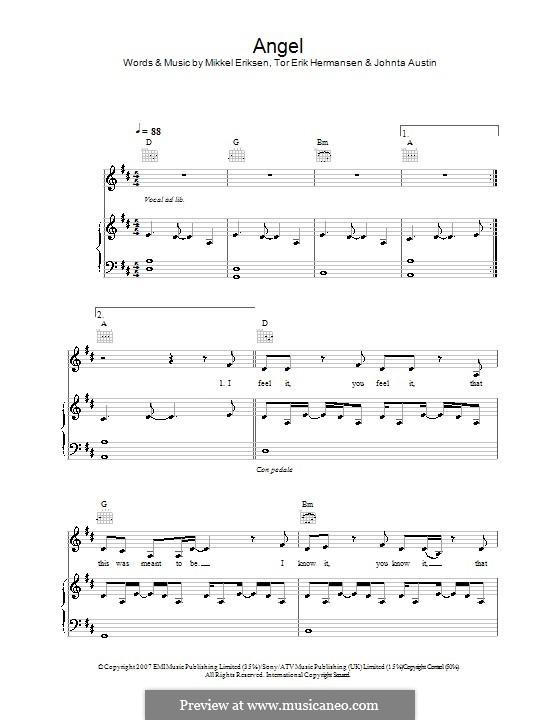 Angel (Leona Lewis): For voice and piano (or guitar) by Amund Bjorklund, Espen Lind, Johntá Austin, Mikkel Storleer Eriksen, Tor Erik Hermansen