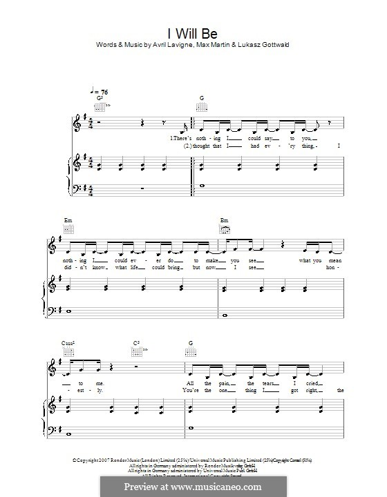 I Will Be (Leona Lewis): For voice and piano (or guitar) by Avril Lavigne, Lukas Gottwald, Max Martin
