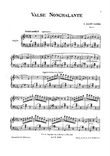 Valse nonchalante, Op.110: For piano by Camille Saint-Saëns