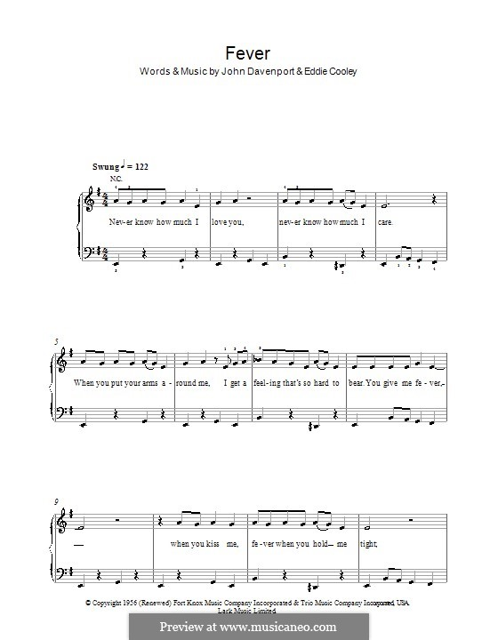 Fever: For easy piano by Eddie Cooley, John Davenport
