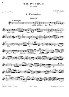 Triptych for Violin and Piano, Op.136: Triptych for Violin and Piano by Camille Saint-Saëns