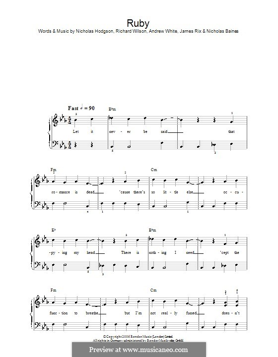 Ruby (Kaiser Chiefs): For easy piano by Andrew White, James Rix, Nicholas Baines, Nicholas Hodgson, Charles Wilson