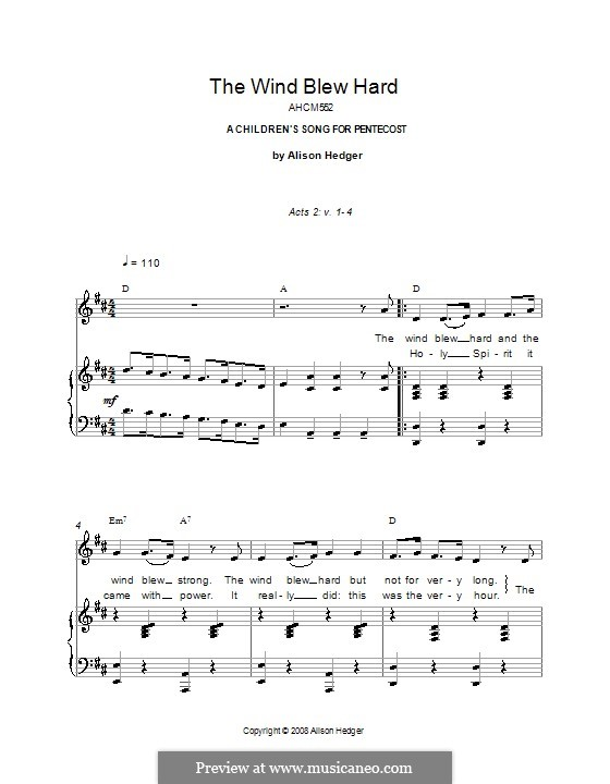 The Wind Blew Hard: For voice and piano (or guitar) by Alison Hedger