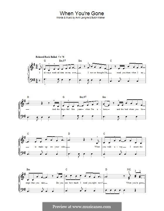 When You're Gone: For easy piano by Avril Lavigne, Butch Walker