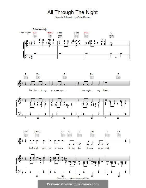 All Through the Night: For voice and piano (or guitar) by Cole Porter