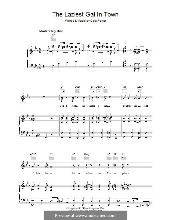The Laziest Gal in Town: For voice and piano (or guitar) by Cole Porter
