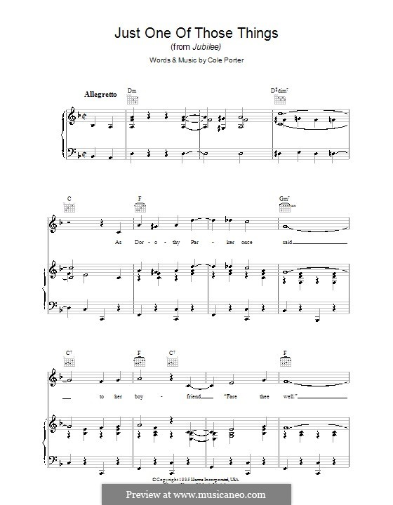 Just One of Those Things: For voice and piano (or guitar) by Cole Porter