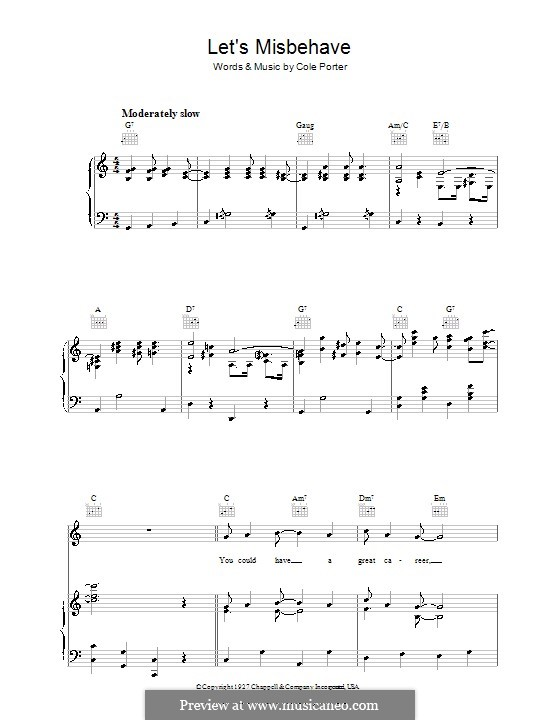Let's Misbehave: For voice and piano (or guitar) by Cole Porter