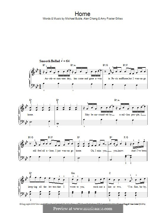 Home: For easy piano (Westlife) by Alan Chang, Amy Foster-Gillies, Michael Bublé