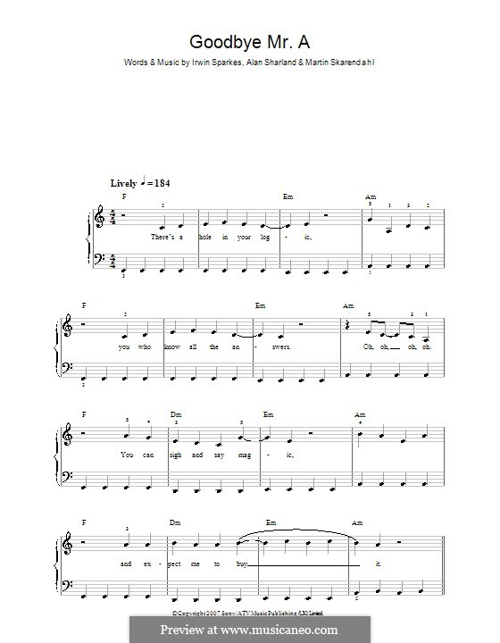 Goodbye Mr. A (The Hoosiers): For easy piano by Alan Sharland, Irwin Sparkes, Martin Skarendahl