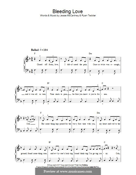 Bleeding Love (Leona Lewis): For easy piano (with lyrics) by Jesse McCartney, Ryan B Tedder