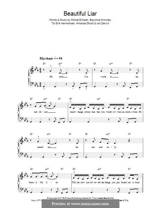 Beautiful Liar (Beyonce & Shakira): For easy piano by Amanda Ghost, Ian Dench, Mikkel Storleer Eriksen, Tor Erik Hermansen