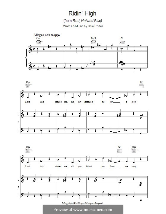 Ridin' High: For voice and piano (or guitar) by Cole Porter