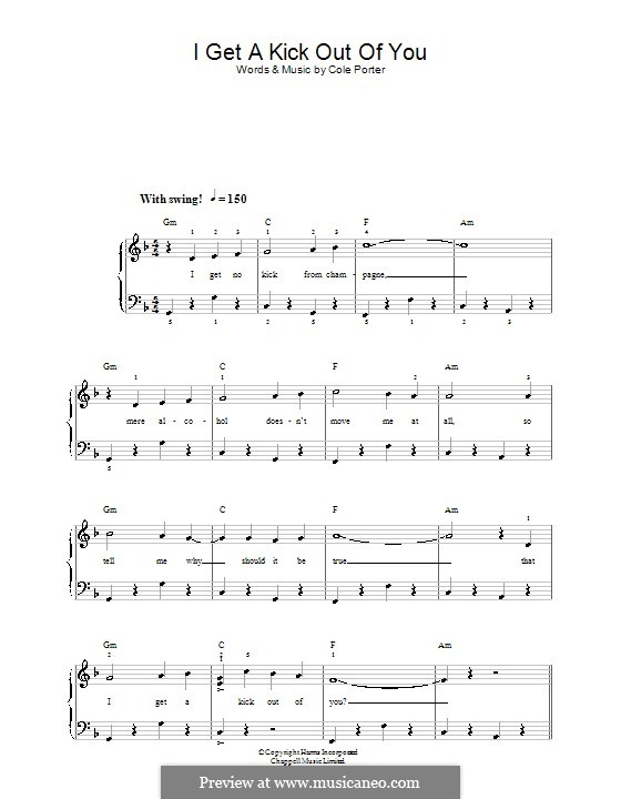 I Get a Kick Out of You (Frank Sinatra): For easy piano by Cole Porter