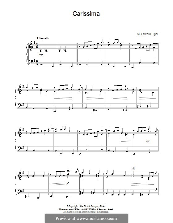 Carissima: For piano by Edward Elgar