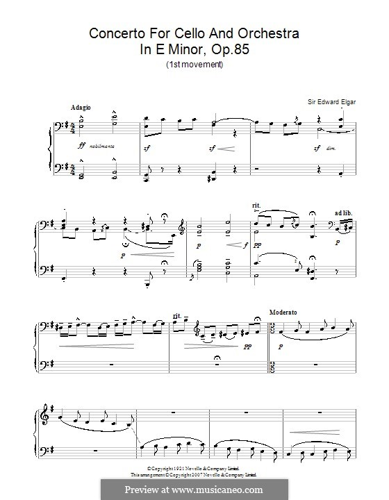 Concerto for Cello and Orchestra, Op.85: Movement I. Version for piano by Edward Elgar