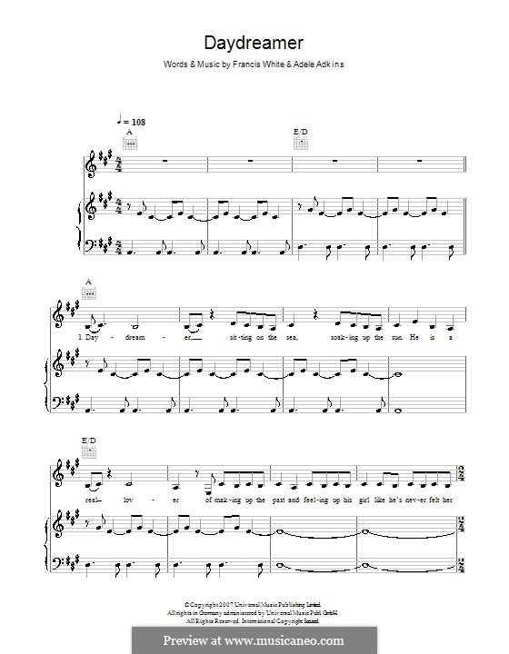 Daydreamer: For voice and piano (or guitar) by Adele